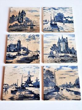 Antique Authentic Delft Tiles Dutch Blue White, Reclaimed tiles, Sailboats, Windmills, Castles, Winter scenes Holland