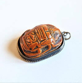 Antique Cinnabar carved Egyptian pendant. Cinnabar and Silver Scarab Beetle Drop Necklace pendant, circa 1850's.