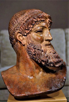 Zeus Polychrome Terracotta Handmade, Head of Zeus in Terracotta