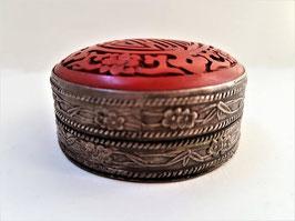 Vintage Tibetan Silver and Cinnabar Trinket Box