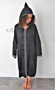 Women's Cardigan Robe Embroidered Brocade Long Loose Coat Abaya Moroccan Kaftan Islamic Dress with hood