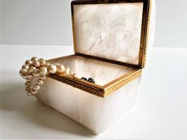 LARGE Art Nouveau Style Hinged Alabaster & Brass Box