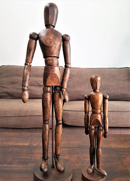 Two RARE RARE French articulated Artist's mannequin wooden doll