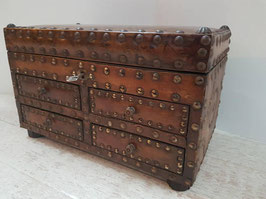 19th Century chest, French Leather Nails Trunk