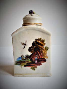 Antique tea caddy, Chinese Export Porcelain Tea Caddy Late 18th c