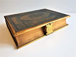 1875 Amazing Illustrated  Family Bible, brass edges and clasp, 19th century illustr,  Published by Eyre & Spottiswoode