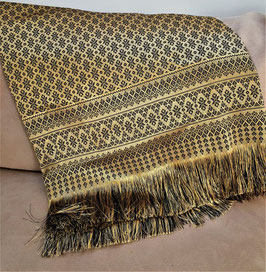 Vintage luxury Moroccan, Turkish textile two-sided weaved silken fabric embroidered with gold thread, and tassels