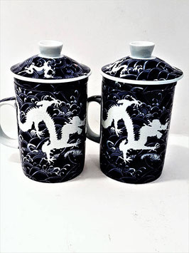 A set of TWO Chinese Porcelain Tea Cup Removable Strainer