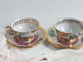 A PAIR of Vintage Bone China Tea sets, Bone China Tea Set, Teacup and Saucer