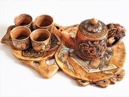 Antique Japanese Bone and Mother of Pearl inlaid tea set MEIJI period 1868 - 1912