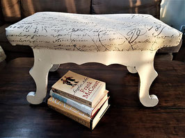 French Country Literary Script Linen Club Ottoman, foot stool