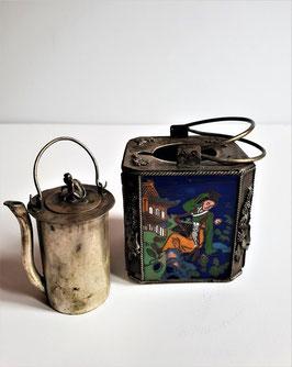 Antique Qianlong-style enamel warm wine pot