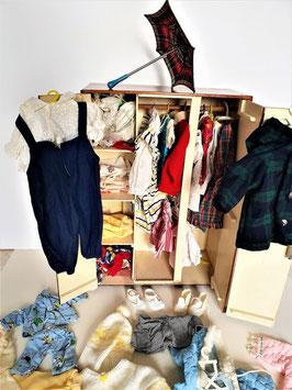 Vintage Wardrobe doll closet, clothes, and accessories