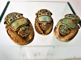 Lot of Three Inscribed Torquoise mineral Egyptian Heart Scarabs, Inscription book of dead