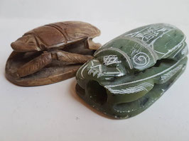 TWO Inscribed Egyptian Heart Scarab