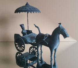 Rare Chinese Bronze Chariot, Horse and Rider Statue