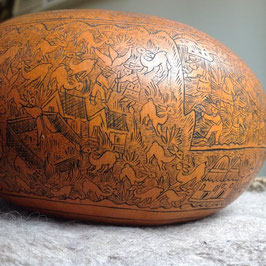 Antique Vintage South American Carved Gourd Calabash
