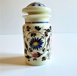 Blue opaline tea caddy or apothecary jar with painted decorations. France, late 19th century.