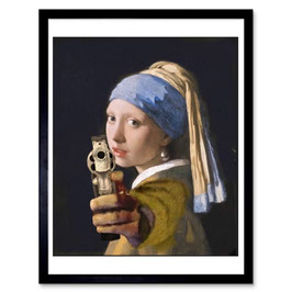 Ben The Rules 'Girl With Loaded Gun' A3 Print 010