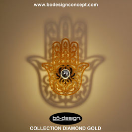APPLIQUE MURALE DESIGNER COLLECTION DIAMOND GOLD / MODELE HAMSA DIAMOND