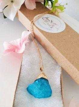 Pendiente en Aqua Cuarzo Azul