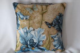 """Gobelinkissen """"Blaue Iris mit Schmetterling"""""""
