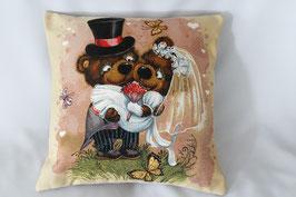 """Gobelinkissen """"Teddy's Hochzeit"""""""