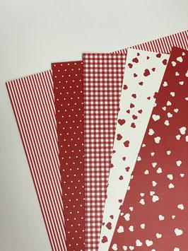 Motivkarton Rot / Weiß versch. Designs