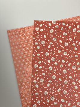 Motivkarton koralle/ weiß versch. Designs