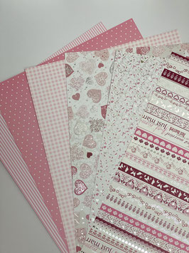 Motivkarton rosa/ weiß versch. Designs