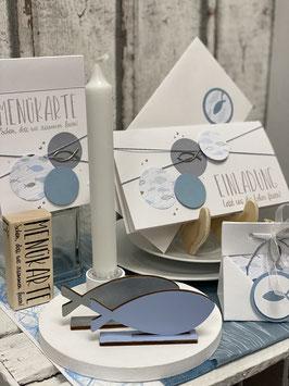 Konfirmationsdeko rauchblau/silber mit Einladungskarte