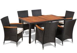 Tavolo piano acacia + 6 sedie