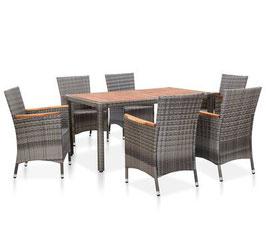 Tavolo piano acacia + 6 sedie rattan Grigio