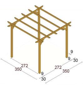 Gazebo legno trattato 3.50x3.50 m