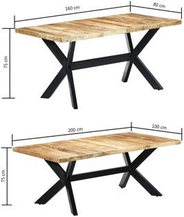 Tavolo industrial a croce legno di Mango