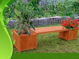 Panca da giardino con due fioriere