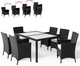 Tavolo 150 cm + 6 sedie rattan impilabili