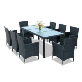 Tavolo + 8 sedie rattan  nero
