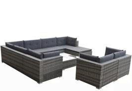 Soggiorno angolare con divano rattan Grigio