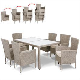 Tavolo 150+6 sedie impilabili Rattan grigio/beige