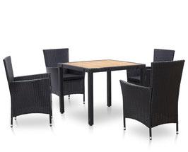 Tavolo piano in acacia e 4 poltroncine