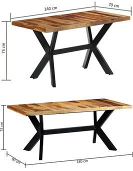 Tavolo industrial a croce legno di Sheesham