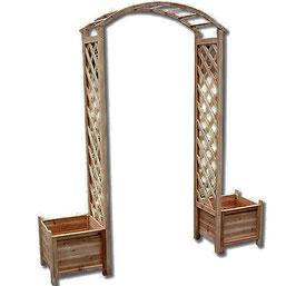 Pergola ad arco grigliato in legno massello con fioriere