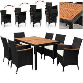 Tavolo piano acacia + 6 sedie impilabili