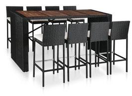 Tavolo Bar acacia + 8 Sgabelli