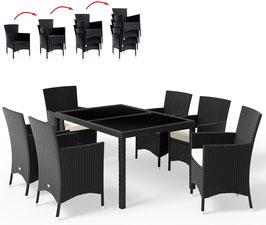 Tavolo 150+6 sedie impilabili Rattan nero