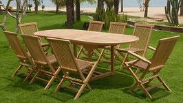 Set da giardino in teak 1 tavolo + 8 sedie