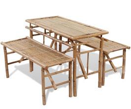 Set tavolo +2 panche in bambù