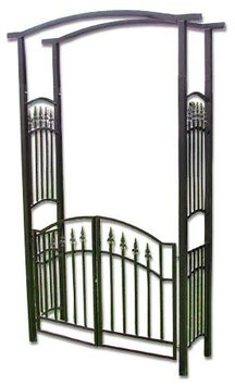 Pergola ad arco con cancello in acciaio