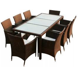Tavolo + 8 sedie rattan caffè